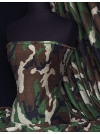 Polar Fleece Anti Pill Washable Soft Fabric- Military Camo Q41 KHBR