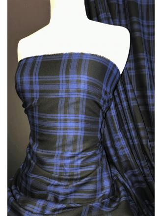 100% Cotton Soft Woven Non-Stretch Fabric- Spirit of Scotland Blue/Black SQ390 BLBK