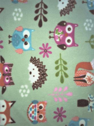 Polar Fleece Anti Pill Washable Soft Fabric- Woodland Print Sage Q1219 SGMLT