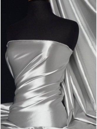 25 METRES Fluid Super Soft Satin Stretch Fabric Wholesale Roll- Silver Grey JBL347 SLVGR