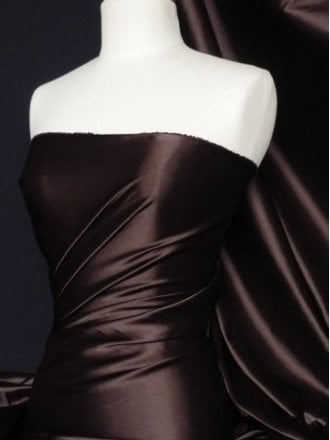 25 METRES Fluid Super Soft Satin Stretch Fabric Wholesale Roll- Brown JBL347 BR