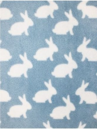 Polar Fleece Anti Pill Washable Soft Fabric- Bunnies Baby Blue/White SQ399 BBLWHT