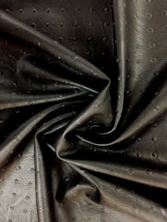 25 METRES Faux Leather Embossed Rivet Pattern Upholstery/Jacket PVC Fabric Wholesale Roll- Black JBL356 BK