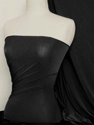 25 METRES Diabolo Shiny Lycra 4 Way Stretch Fabric Wholesale Roll- Black JBL363 BK