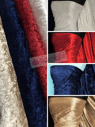 20 METRES Crushed Velvet/Velour 4 Way Stretch Fabric Wholesale Roll- JBL365