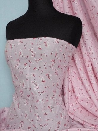Cotton Poplin Ditsy Floral Non-Stretch Material- Clair Pink Q625 PN