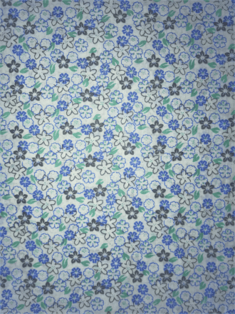Cotton Poplin Non-Stretch Material- Honolulu Florals Blue/Mint Q1416 BL