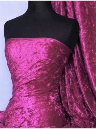 Crushed Velvet/Velour Stretch Material- Magenta Q156 MGT