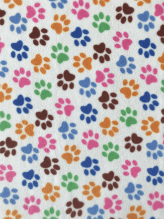 Polar Fleece Anti Pill Washable Soft Fabric- Cream/Multi Paws Q396B CRMMLT