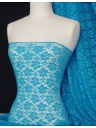 Lace Roses Stretch Fabric- Turquoise Blue Q365 TQBL