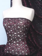 Wine/black Stretch lace Fabric/Material
