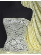 Lace Hologram Sequins Stretch Fabric- Lemon Q1 LMN