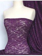 Purple Sequins Hologram Stretch Lace Fabric