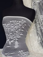 Super Soft 4 Way Stretch Floral Design Lace- Ivory White Q329 IVWHT