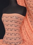 Lace 4 Way Stretch Stripe Fabric- Coral Pink Q585 CRLPN
