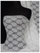 Angel White Flower Design Stretch Lace Fabric