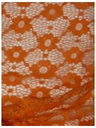 Coral Orange Daisy Stretch Lace Fabric