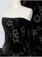 Black Floral Velvet 2 Way Stretch Spandex Lycra