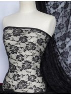 Lace Rose Flower Stretch Fabric- Black Q963 BK