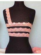 Candy Pink Sequin Scalloped Edging Stretch Lace Trim