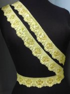 Sequin Scalloped Edging Stretch Lace Trim- Flo Lime Green FLGR