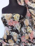 Chiffon Soft Touch Sheer Fabric- Black Vintage Floral Q686 MLT