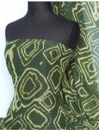 Chiffon Tie Dye Sheer Fabric- Green Geometric Q754 GRN