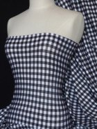 Viscose Cotton Stretch Fabric- Gingham Black/White Q705 BKWHT
