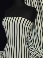 Viscose Cotton Stretch Fabric- Stripe Black/Cream Q446 BKCRM