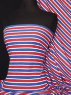 100% Cotton Interlock Knit Soft Jersey T-Shirt Fabric- Easy Horizontal Stripe Q749 BLRD