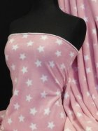 Polar Fleece Anti Pill Washable Soft Fabric- Pink/White Stars Q811 PNWHT