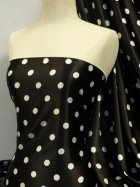 Super Soft Satin Stretch Fabric- Black Polka Dots Q830 BKWHT