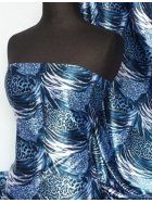 Super Soft Satin Non-Stretch Fabric- Blue Animal Q549 BL