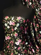 Super Soft Satin Non-Stretch Fabric- Black/ Pink Flowers Q832 BKPN