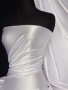 Fluid Super Soft Satin Stretch Fabric- White Q855 WHT