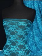 Turquoise Blue Flower Stretch Lace Fabric