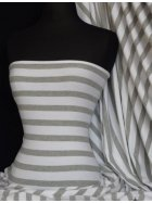 Cotton Lycra Jersey 4 Way Stretch Fabric- Grey/White Stripe Q55 GYWHT