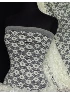 Cream Daisy Stretch Lace Fabric