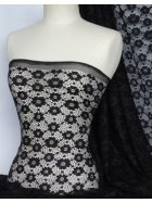 Black Daisy Stretch Lace Fabric
