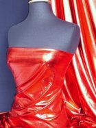 New Red Wet Look Foil Stretch Fabric