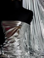Wet Look Foil Stretch Lycra Fabric- Silver NG253 SLV