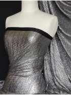 Bodré Crinkle Metallic Foil Stretch Fabric- Silver/Black Q827 SLVBK