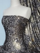Silk Touch 4 Way Stretch Fabric- Grey/Gold Leopard Foil Q619 GRGLD