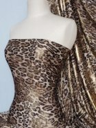 Silk Touch 4 Way Stretch Fabric- Brown/Gold Leopard Q619 BRGLD