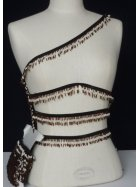Ethnic Brown/Cream Beaded Fringe Trimming