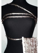 Taupe Brown Diamond Beaded Trim