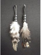 Feather Embellishment (Two Set)- White/Brown EM215 WHTBR