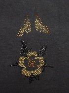 Gold/Black Flower Design Iron-On Rhinestud