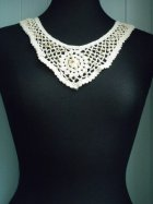 Cream Wooden Beaded Cotton Neck Piece