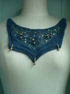 Denim Blue Gold Beaded Cotton Neck Piece